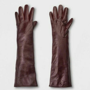 A New Day Long Leather Burgundy Gloves Size M/L